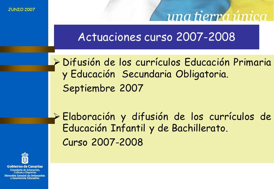 JUNIO 2007 Actuaciones curso 2007-2008. Difusión de los currículos Educación Primaria y Educación Secundaria Obligatoria.