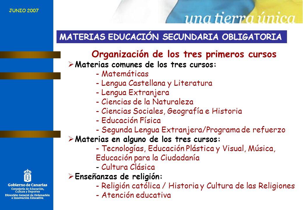Organización de los tres primeros cursos