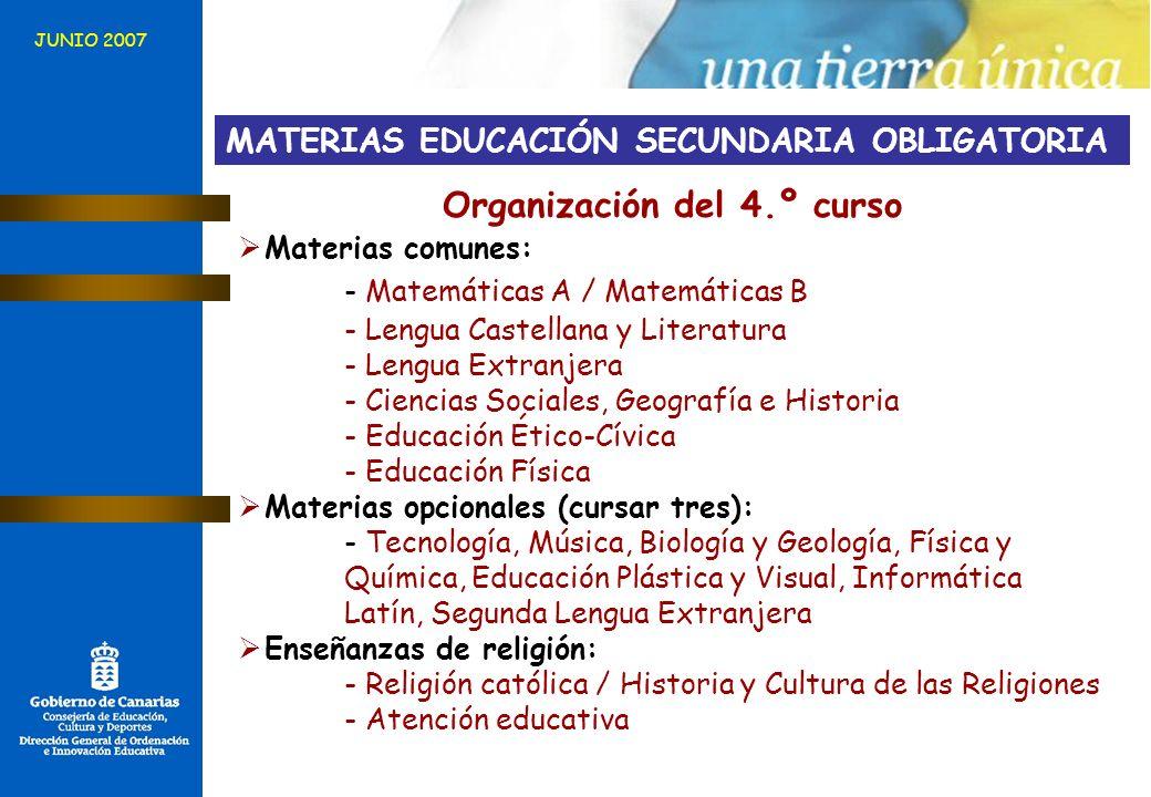 Organización del 4.º curso
