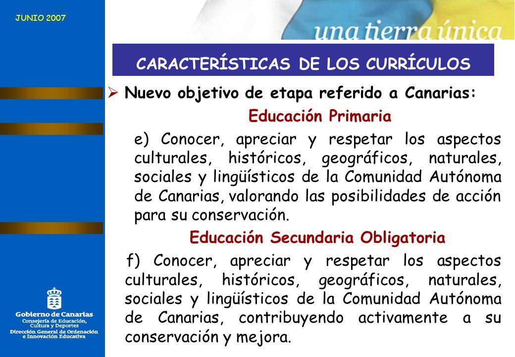 CARACTERÍSTICAS DE LOS CURRÍCULOS Educación Secundaria Obligatoria
