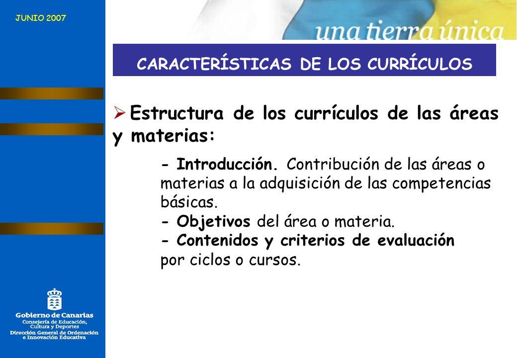 CARACTERÍSTICAS DE LOS CURRÍCULOS