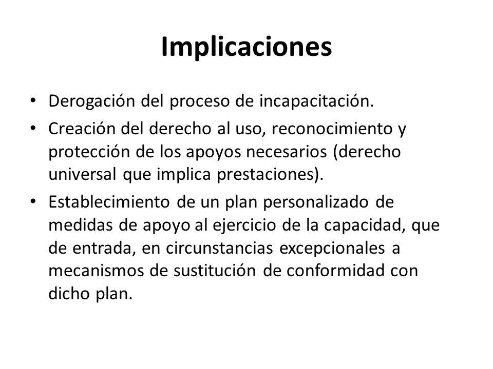 Implicaciones Derogación del proceso de incapacitación.