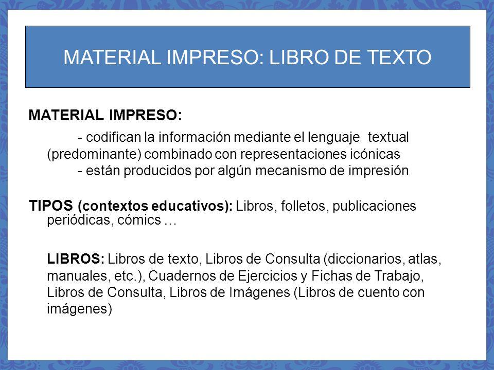 MATERIAL IMPRESO: LIBRO DE TEXTO
