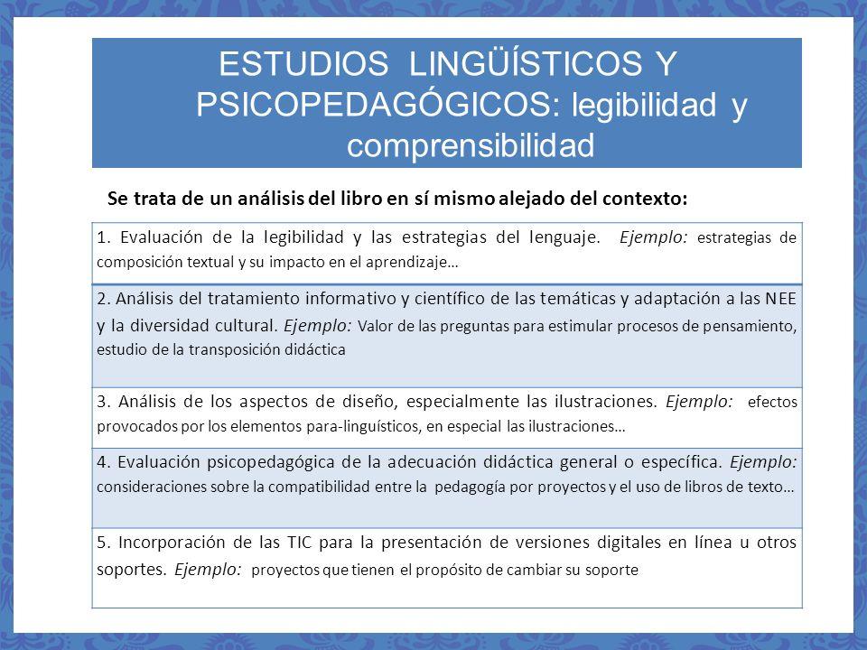 ESTUDIOS LINGÜÍSTICOS Y PSICOPEDAGÓGICOS: legibilidad y comprensibilidad