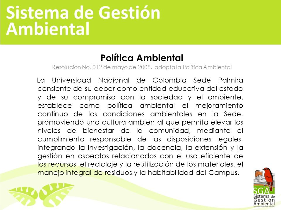 Política Ambiental Resolución No