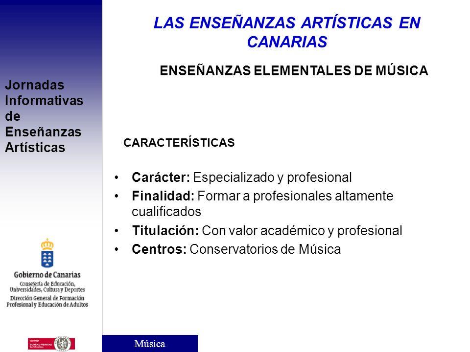 LAS ENSEÑANZAS ARTÍSTICAS EN CANARIAS ENSEÑANZAS ELEMENTALES DE MÚSICA
