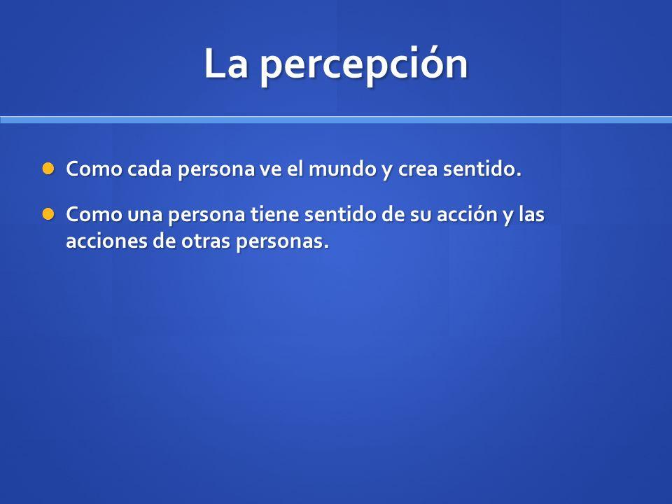 La percepción Como cada persona ve el mundo y crea sentido.