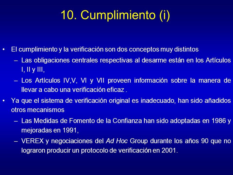 10. Cumplimiento (i) El cumplimiento y la verificación son dos conceptos muy distintos.