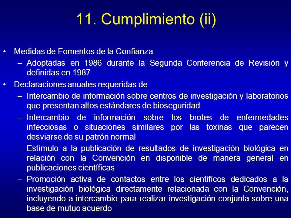 11. Cumplimiento (ii) Medidas de Fomentos de la Confianza