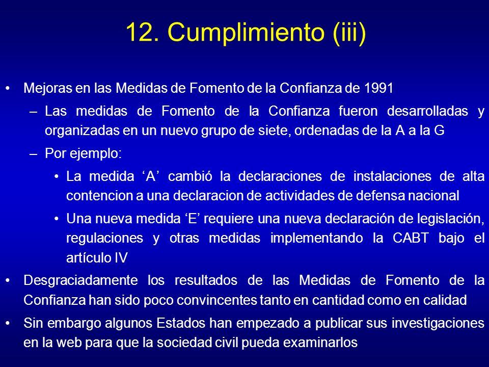 12. Cumplimiento (iii) Mejoras en las Medidas de Fomento de la Confianza de 1991.