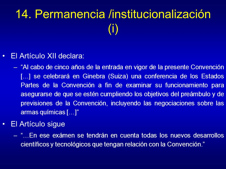 14. Permanencia /institucionalización (i)