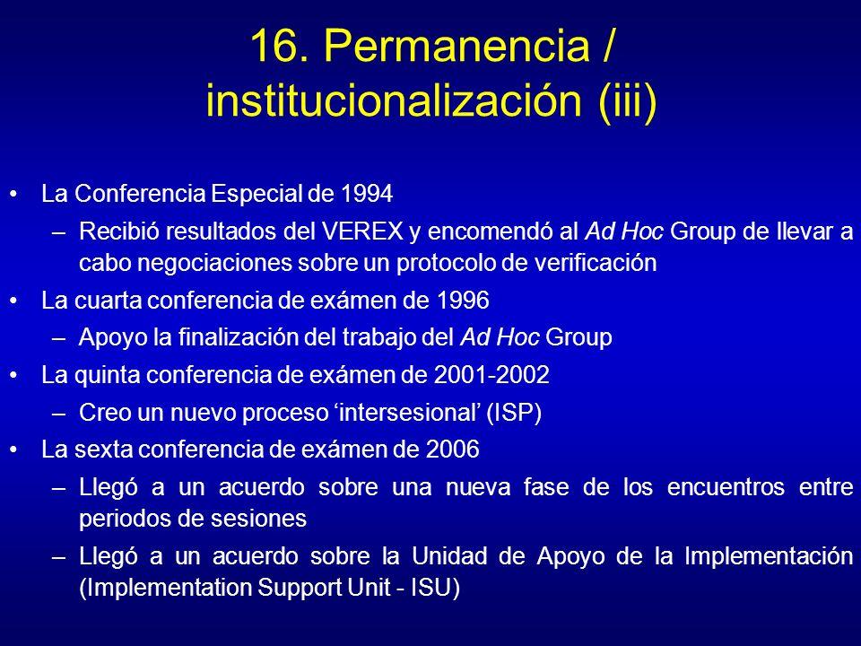 16. Permanencia / institucionalización (iii)