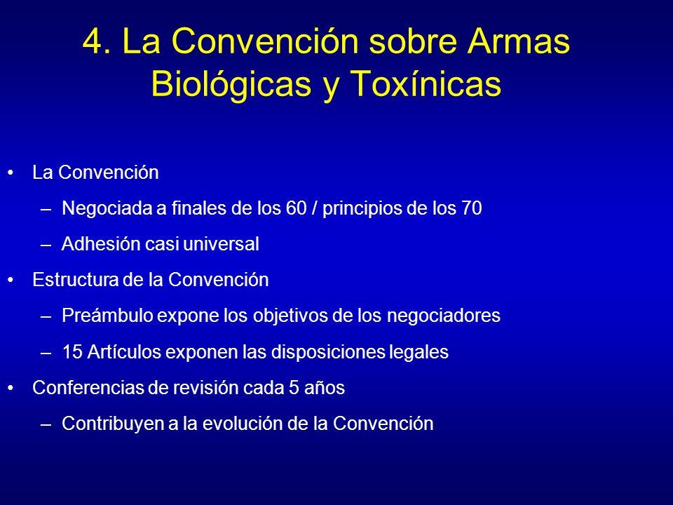 4. La Convención sobre Armas Biológicas y Toxínicas