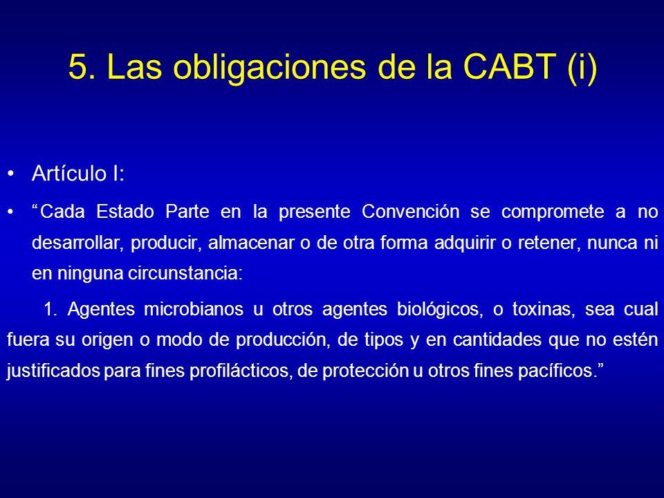 5. Las obligaciones de la CABT (i)