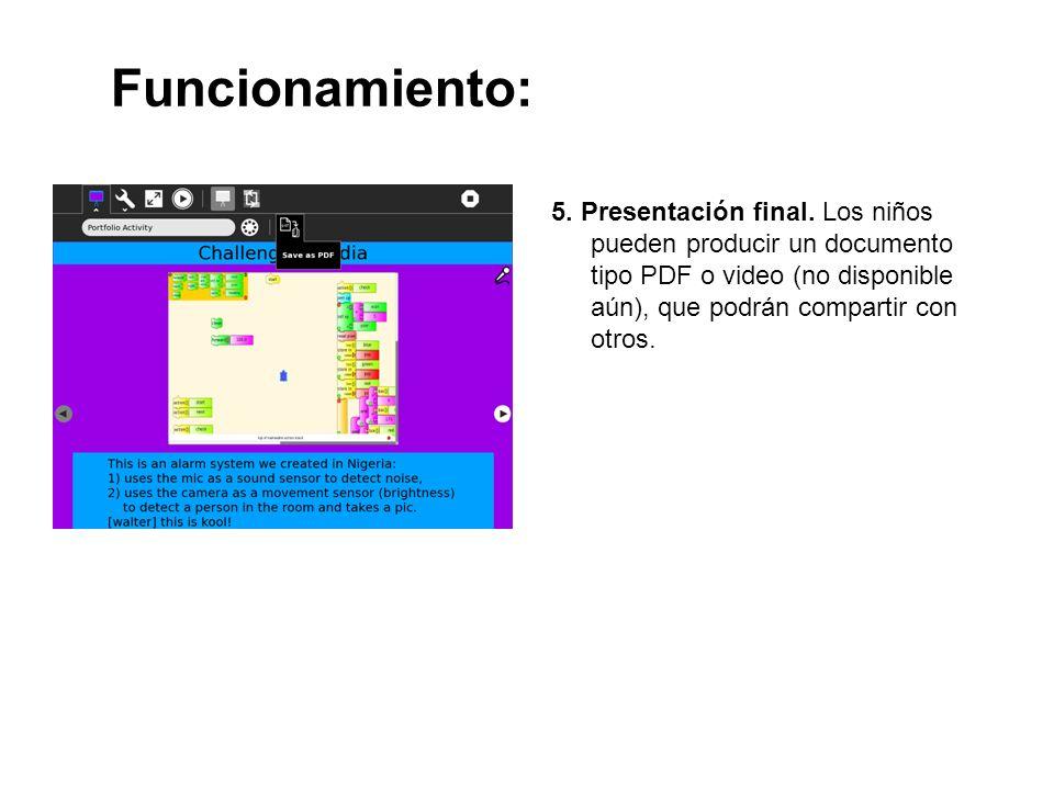Funcionamiento: 5. Presentación final.