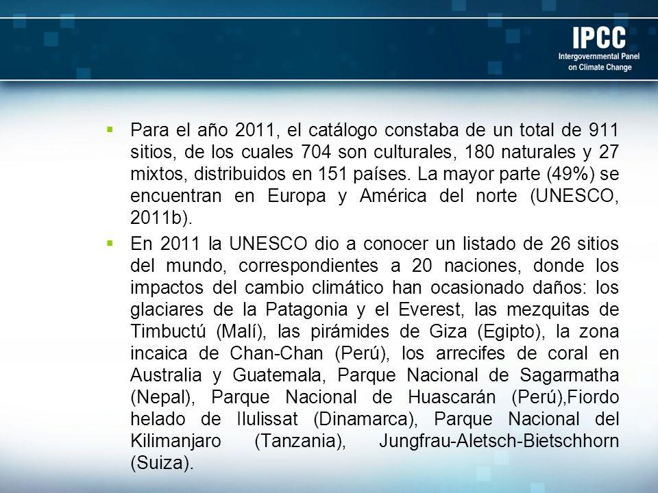 Para el año 2011, el catálogo constaba de un total de 911 sitios, de los cuales 704 son culturales, 180 naturales y 27 mixtos, distribuidos en 151 países. La mayor parte (49%) se encuentran en Europa y América del norte (UNESCO, 2011b).