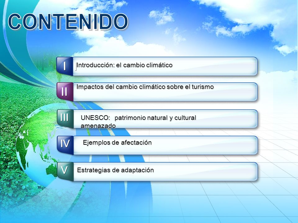 CONTENIDO I I II III IV Ⅴ Introducción: el cambio climático