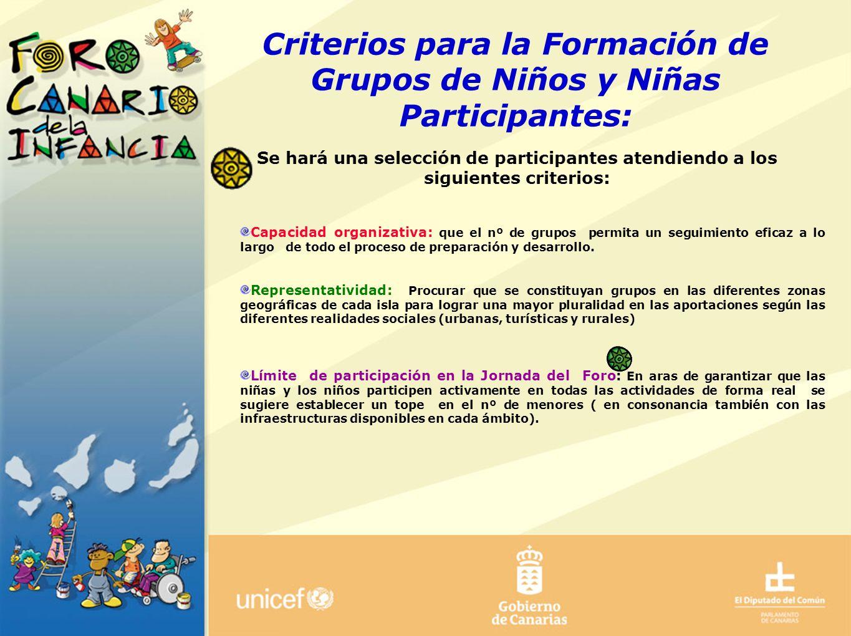 Criterios para la Formación de Grupos de Niños y Niñas Participantes: