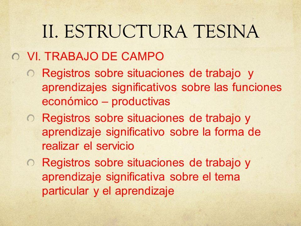 II. ESTRUCTURA TESINA VI. TRABAJO DE CAMPO