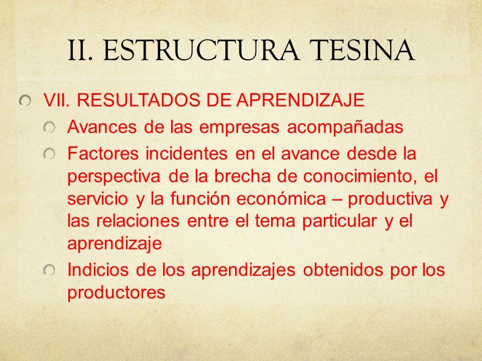 II. ESTRUCTURA TESINA VII. RESULTADOS DE APRENDIZAJE