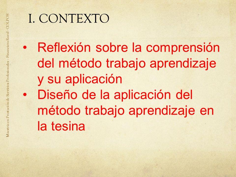 Diseño de la aplicación del método trabajo aprendizaje en la tesina