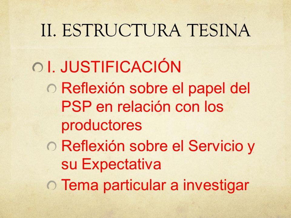 II. ESTRUCTURA TESINA I. JUSTIFICACIÓN