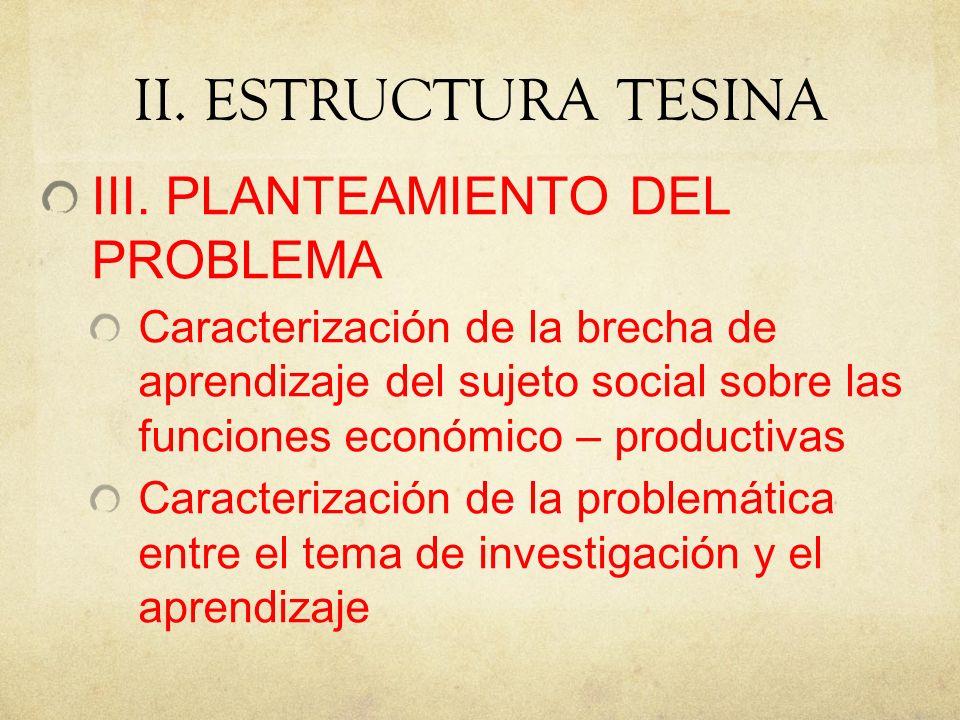 II. ESTRUCTURA TESINA III. PLANTEAMIENTO DEL PROBLEMA