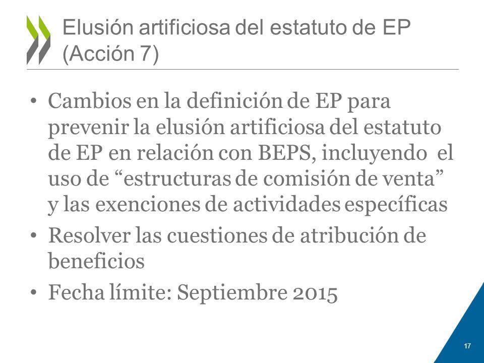 Elusión artificiosa del estatuto de EP (Acción 7)