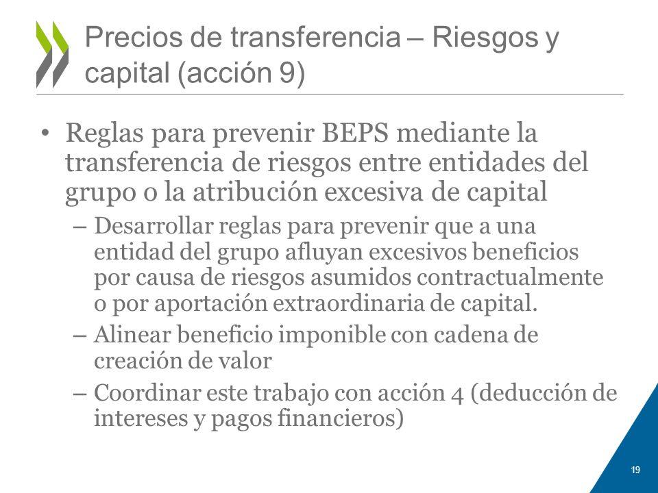 Precios de transferencia – Riesgos y capital (acción 9)