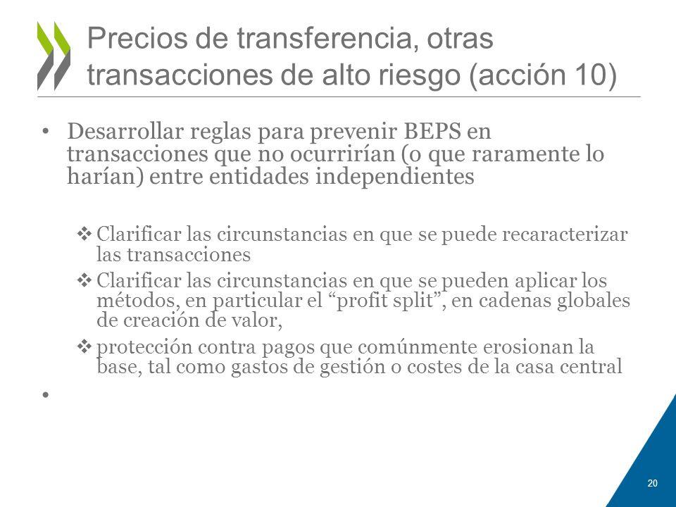 Precios de transferencia, otras transacciones de alto riesgo (acción 10)