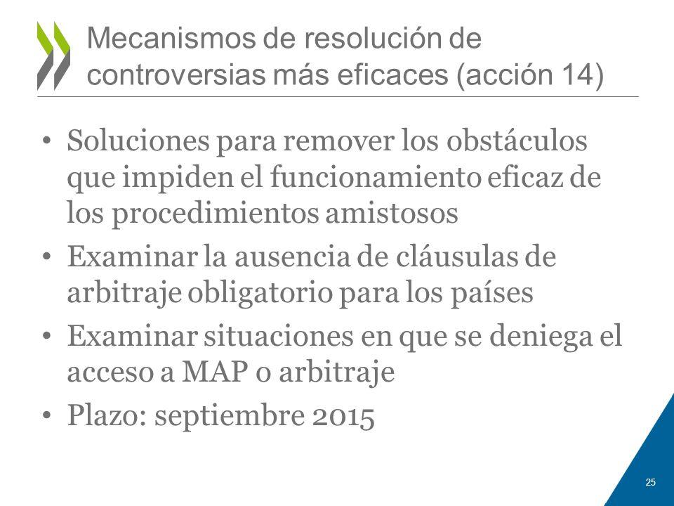 Mecanismos de resolución de controversias más eficaces (acción 14)