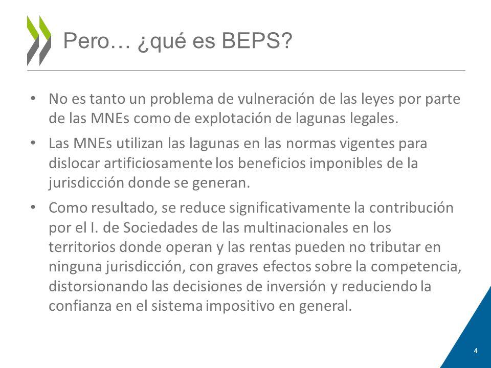Pero… ¿qué es BEPS No es tanto un problema de vulneración de las leyes por parte de las MNEs como de explotación de lagunas legales.