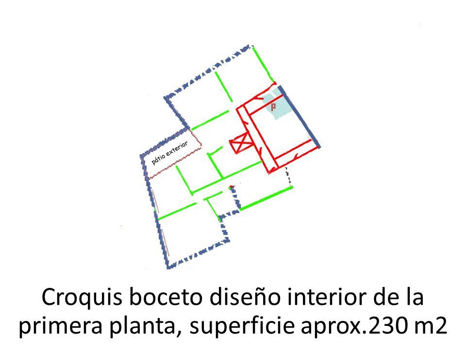 Croquis boceto diseño interior de la primera planta, superficie aprox