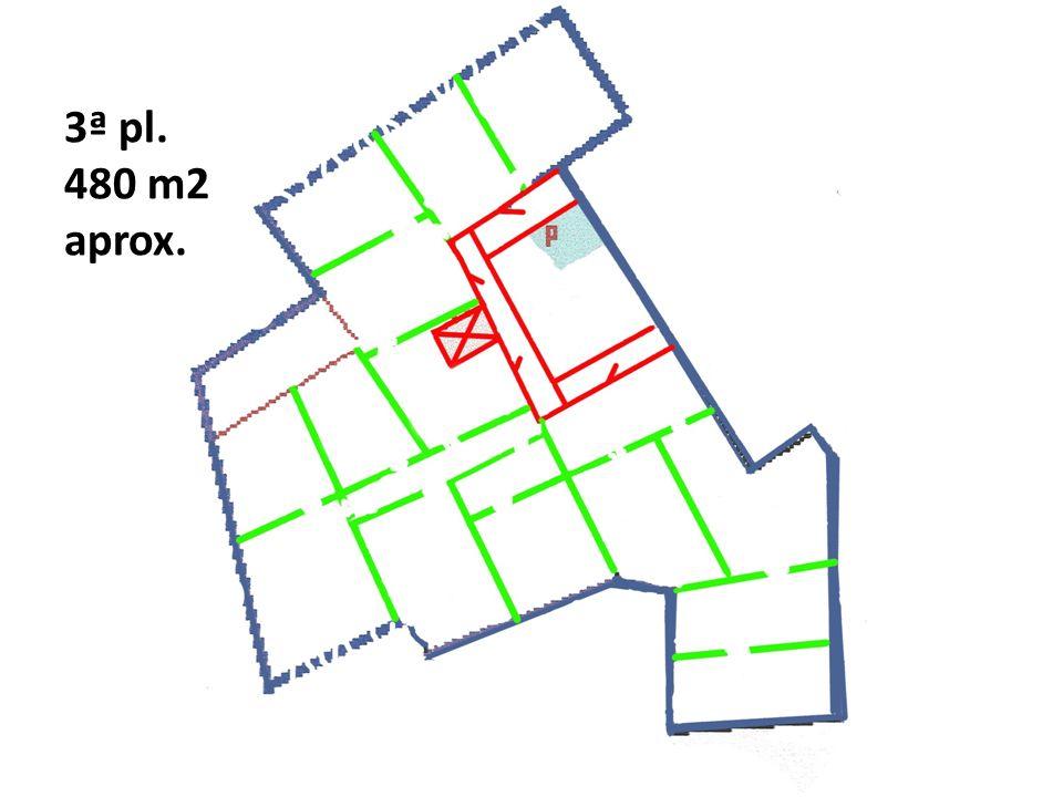 3ª pl. 480 m2 aprox. Croquis diseño del interior dela 3ª planta, esta es la que más uperficie tiene