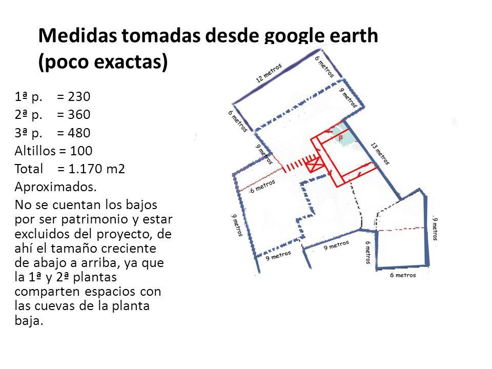 Medidas tomadas desde google earth (poco exactas)