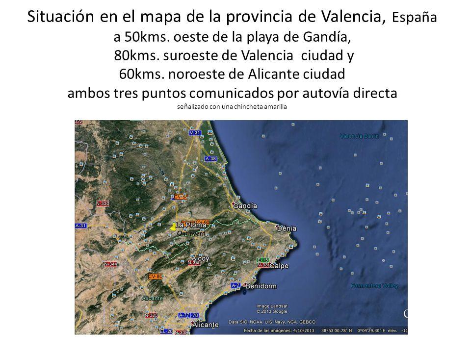 Situación en el mapa de la provincia de Valencia, España a 50kms