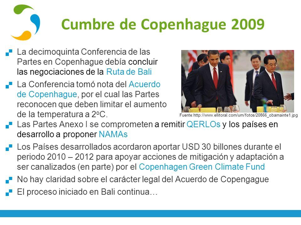 Cumbre de Copenhague 2009 La decimoquinta Conferencia de las Partes en Copenhague debía concluir las negociaciones de la Ruta de Bali.