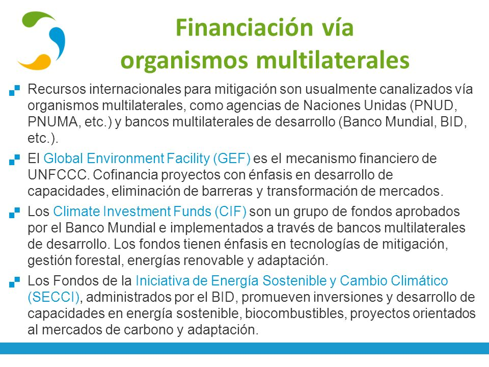 Financiación vía organismos multilaterales