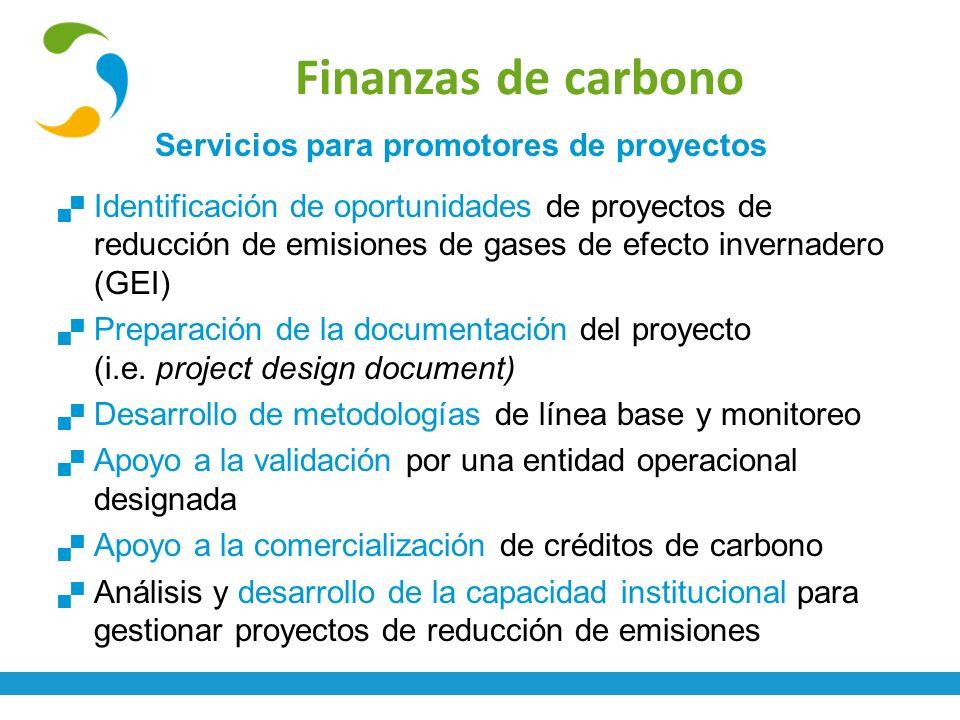 Finanzas de carbono Servicios para promotores de proyectos