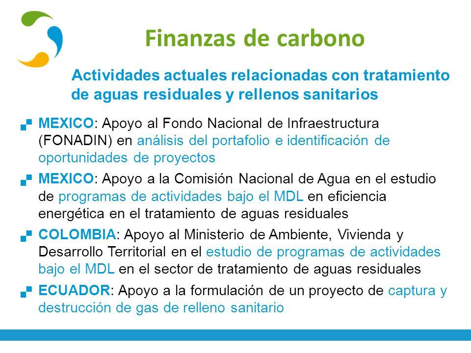 Finanzas de carbono Actividades actuales relacionadas con tratamiento de aguas residuales y rellenos sanitarios.