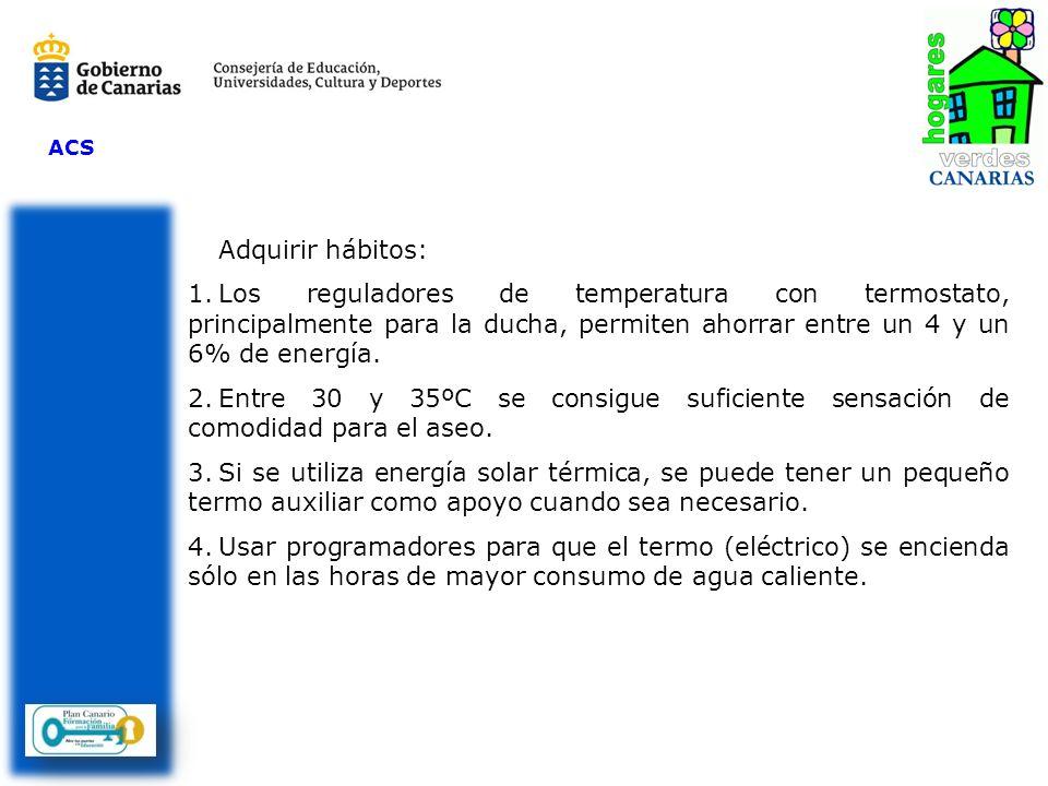 ACSAdquirir hábitos: Los reguladores de temperatura con termostato, principalmente para la ducha, permiten ahorrar entre un 4 y un 6% de energía.