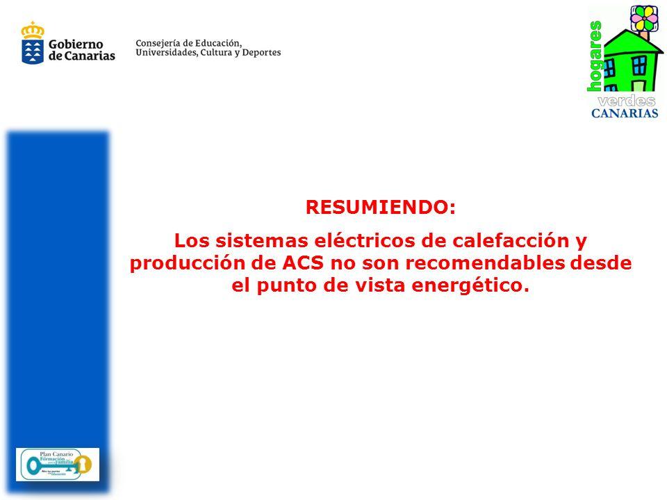 RESUMIENDO:Los sistemas eléctricos de calefacción y producción de ACS no son recomendables desde el punto de vista energético.