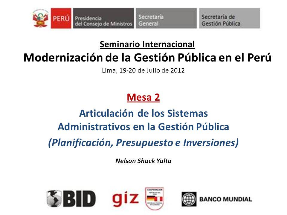 Seminario Internacional Modernización de la Gestión Pública en el Perú