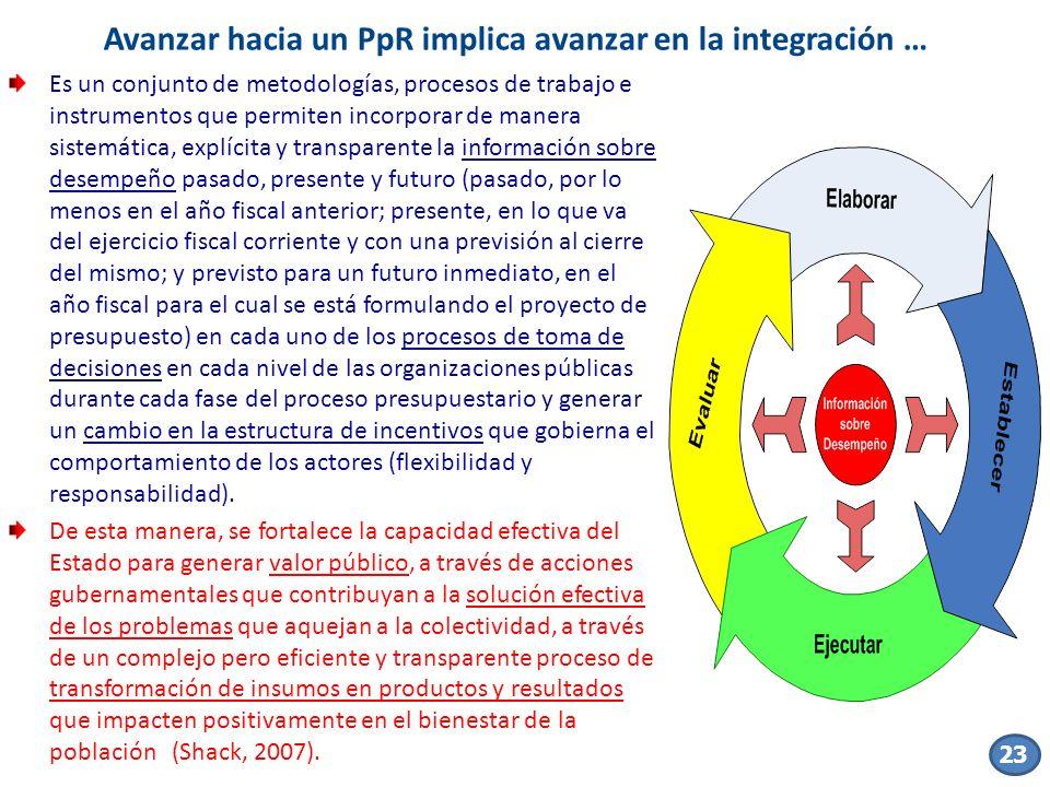 Avanzar hacia un PpR implica avanzar en la integración …