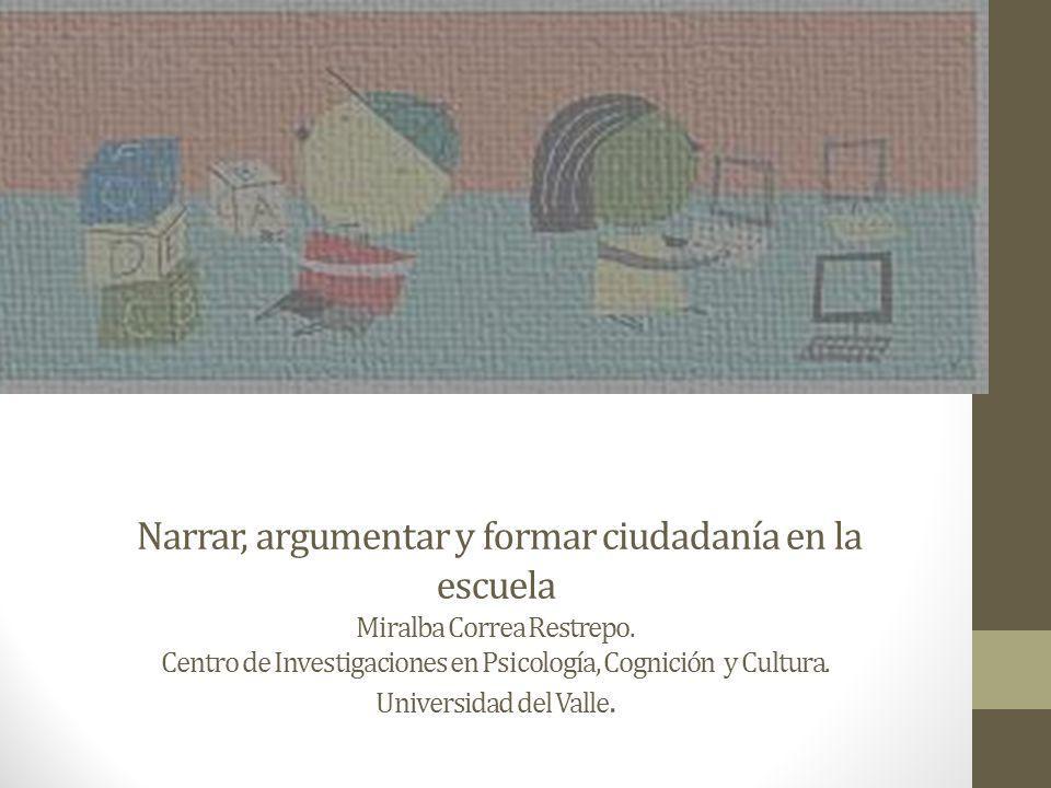 Narrar, argumentar y formar ciudadanía en la escuela Miralba Correa Restrepo.