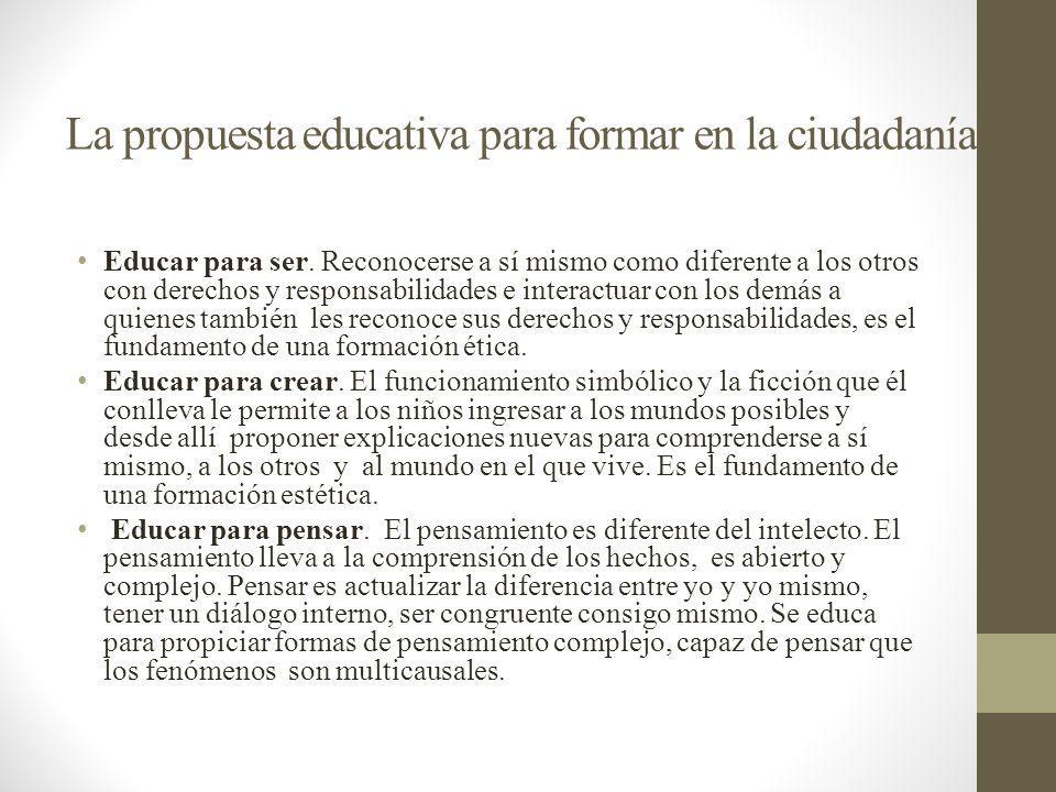 La propuesta educativa para formar en la ciudadanía