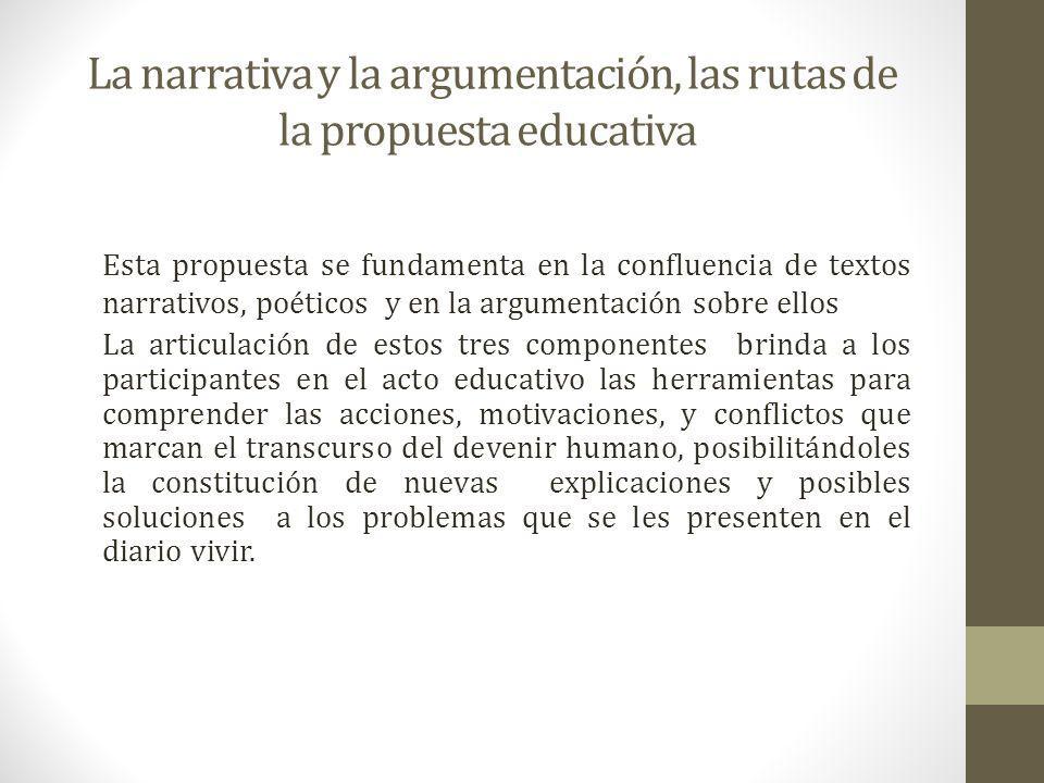 La narrativa y la argumentación, las rutas de la propuesta educativa
