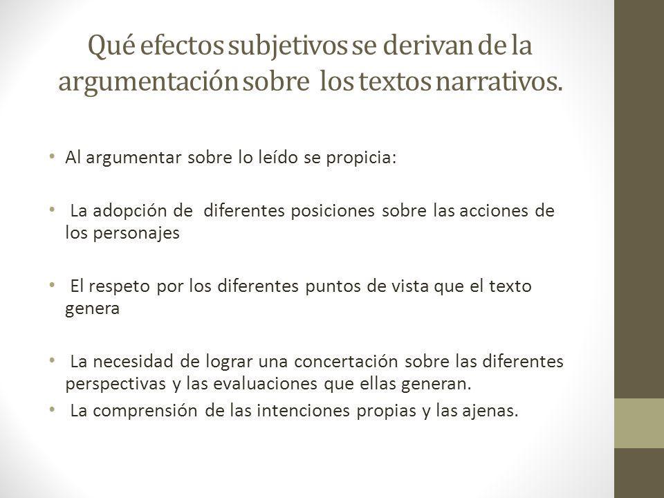 Qué efectos subjetivos se derivan de la argumentación sobre los textos narrativos.