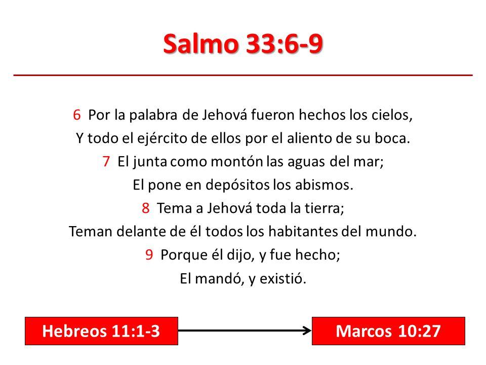 Salmo 33:6-9 Hebreos 11:1-3 Marcos 10:27