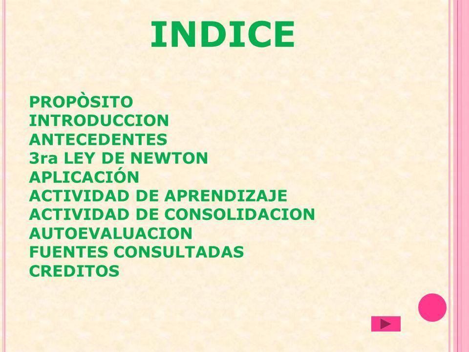 INDICE PROPÒSITO INTRODUCCION ANTECEDENTES 3ra LEY DE NEWTON